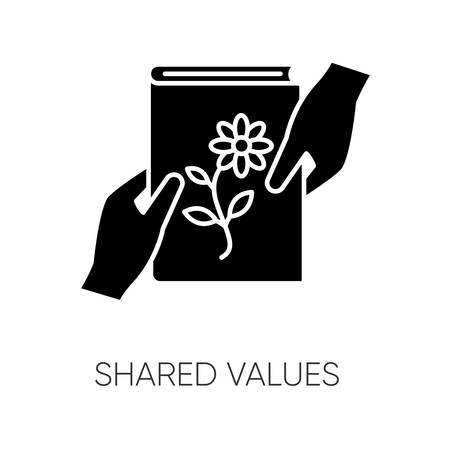 Shared values black glyph icon. Common interests, friendly exchange silhouette symbol on white space. Literature, scrapbooking hobby. Friends sharing book. Vector isolated illustration