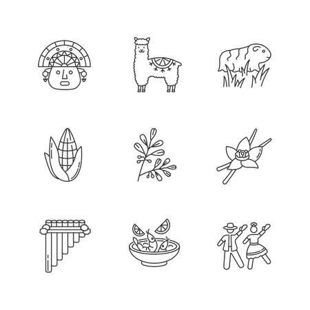Peru pixel perfect linear icons set. Incas, alpaca, guinea pig, corn, coca, vanilla, ceviche, marinera. Customizable thin line contour symbols. Isolated vector outline illustrations. Editable stroke