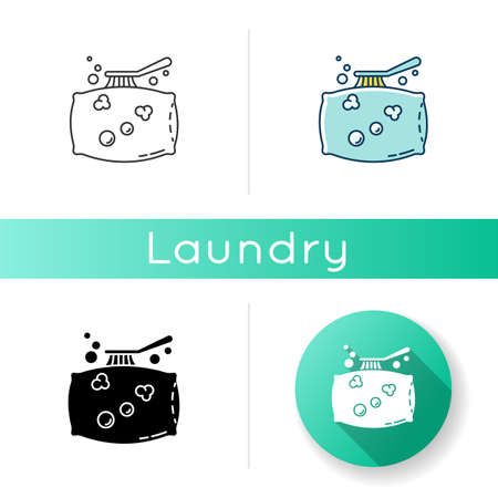 Pillow cleaning icon. Laundry, linen cleaning service, dust and stain removal. Cushion washing, bedding care brush, professional tool. Linear black and RGB color styles. Isolated vector illustrations Ilustracje wektorowe