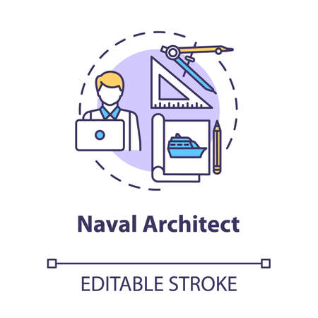 Naval architect concept icon. Professional maritime worker. Designing ship. Boat project. Marine engineer idea thin line illustration. Vector isolated outline RGB color drawing. Editable stroke