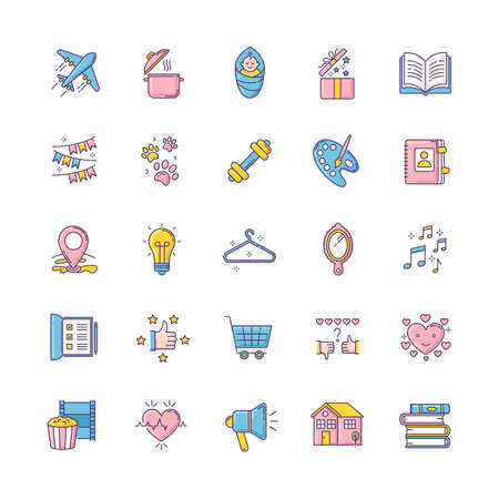 Healthy lifestyle RGB color icons set. Travel and tourism. Cooking recipe. Open gift. Infant baby. Book pile. Pet paws. Gym exercise. Love life. Creative hobby. Isolated vector illustrations