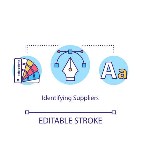Identifying suppliers concept icon. Constant supplies arranging idea thin line illustration. Service provider choice, materials procurement. Vector isolated outline RGB color drawing. Editable stroke Çizim