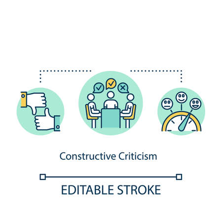 Constructive criticism concept icon. Project comments and change idea thin line illustration. Listening suggestions and making corrections. Vector isolated outline RGB color drawing. Editable stroke