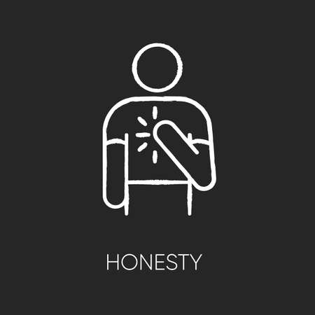 Honesty chalk white icon on black background. Truthfulness, sincerity and credence symbol. Trustworthy, sincere, person. Reliable, genuine friend isolated vector chalkboard illustration