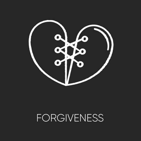 Forgiveness chalk white icon on black background. Strong interpersonal connection, emotional affection, friendship. Overcoming resentment, negative emotions. Isolated vector chalkboard illustration