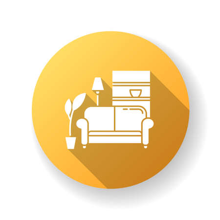 Apartment interior yellow flat design long shadow glyph icon. Living room furniture. Cosy home. Couch, sofa. Place for rest and relaxation. Common dormitory space. Silhouette RGB color illustration