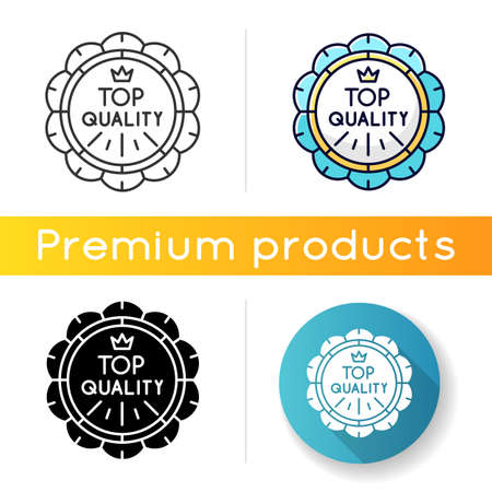 Top quality icon. Linear black and RGB color styles. Premium goods, luxurious products emblem. High class quality, brand equity. Prestigious badge with crown isolated vector illustrations