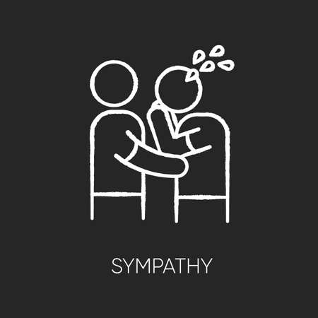 Sympathy chalk white icon on black background. Friendly consolation and support, emotional care, friendship. Comforting, cheering sad friend. Isolated vector chalkboard illustration