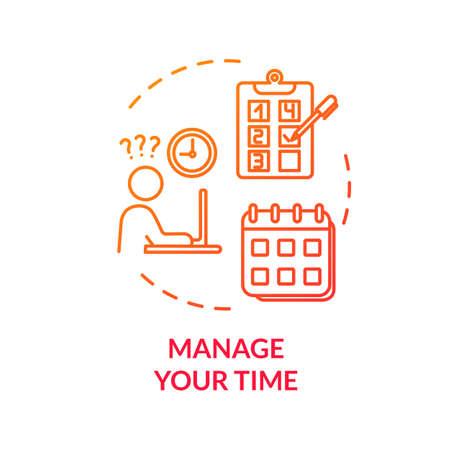 Gérez votre icône de concept de temps rouge. Atteindre les objectifs. Travail exigeant. Projet de contrôle. Planification et ordonnancement. Évitez l'illustration en ligne mince de l'idée d'épuisement. Dessin de couleur RVB de contour isolé de vecteur