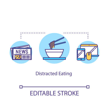 Distracted eating concept icon. Conscious nutrition idea thin line illustration. Paying attention to meal, mindful food consumption. Vector isolated outline RGB color drawing. Editable stroke