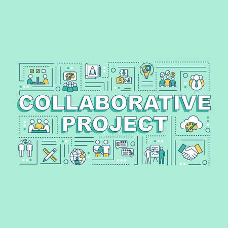 Collaborative project word concepts banner. Design studio. Partnership for work project. Infographics with linear icons on mint background. Isolated typography. Vector outline RGB color illustration