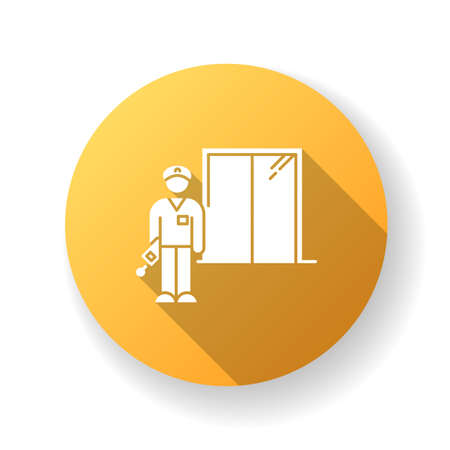 Night dorm watchman yellow flat design long shadow glyph icon. College dormitory janitor. Security guard. Hotel security. Elevator operator. University warden. Silhouette RGB color illustration