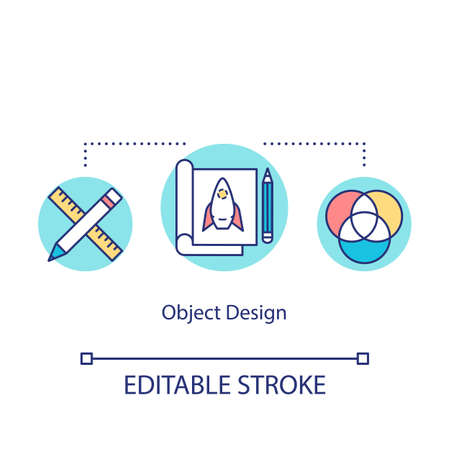Object design concept icon. Project creating, plan forming idea thin line illustration. Paperwork, groundwork, sketching process. Vector isolated outline RGB color drawing. Editable stroke  イラスト・ベクター素材