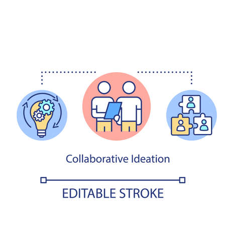 Collaborative ideation concept icon. Teamwork, partnership, cooperation idea thin line illustration. Brainstorming, idea generation. Vector isolated outline RGB color drawing. Editable stroke