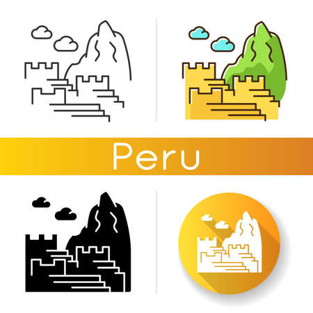 Machu picchuicons set. Inca citadel in mountains. Sacred Valley in Eastern Cordillera. Ancient monument of civilization of Indians. Linear, black and RGB color styles. Isolated vector illustrations
