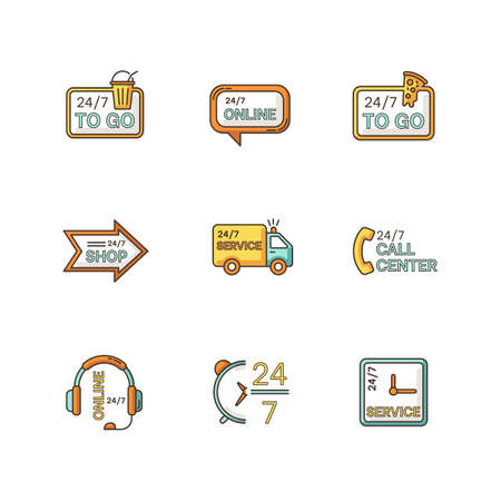 24 7 hour service RGB color icons set. Online 24 hrs customer support. Everyday available delivery. Transportation truck sign. Around the clock open bar and pizzeria. Isolated vector illustrations