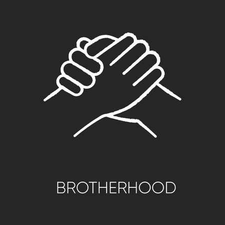 Brotherhood chalk white icon on black background. Strong friendship, interpersonal bond, Togetherness, unity and fellowship. Manly handshake isolated vector chalkboard illustration Ilustração