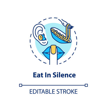 Eat in silence concept icon. Conscious nutrition idea thin line illustration. Enjoying meal without distractions, dinner in peace and quiet. Vector isolated outline RGB color drawing. Editable stroke