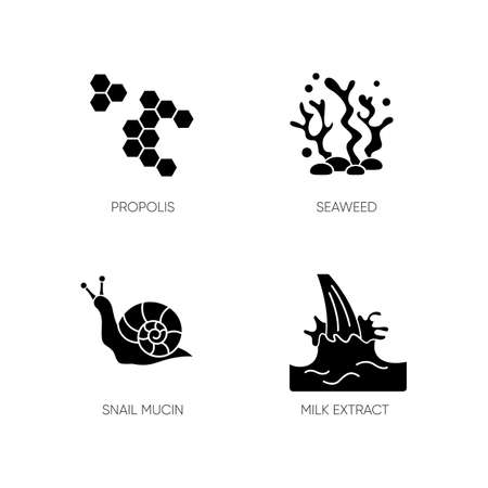 Cosmetic ingredient black glyph icons set on white space. Propolis, honey comb. Seaweed underwater. Milk extract. Cosmetology, dermatology. Silhouette symbols. Vector isolated illustration 向量圖像