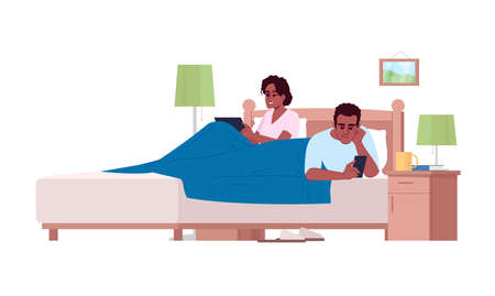 African american couple in bed using devices semi flat RGB vector illustration. Gadgets overuse, lack of communication in family. People with smartphones in bedroom isolated cartoon character on white Illustration