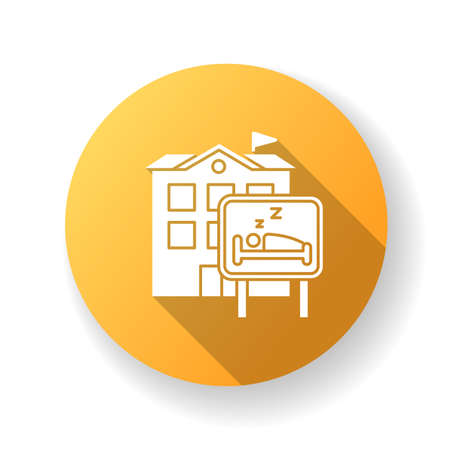 Hotel yellow flat design long shadow glyph icon. Hostel. Motel building. Sleeping accommodation services. Travelling facilities. Residential area. Apartment block. Silhouette RGB color illustration Ilustração