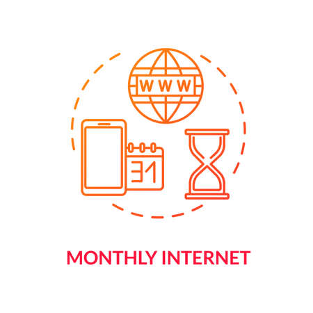 Monthly internet red concept icon. Paid phone service. Internet tariff plan. Mobile connection. Global 3g coverage. Roaming idea thin line illustration. Vector isolated outline RGB color drawing