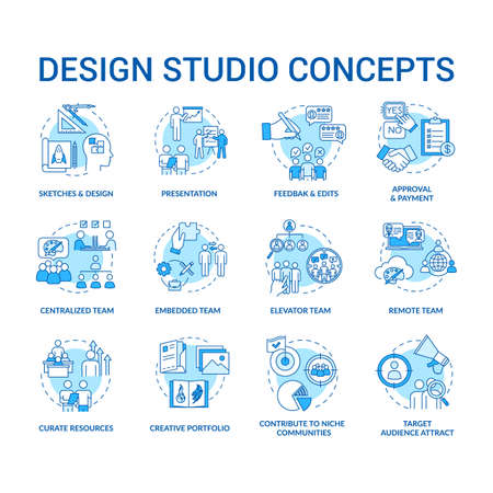 Design studio, workshop concept icons set. Designers team types and creative process steps idea thin line RGB color illustrations. Vector isolated outline drawings. Editable stroke Illustration