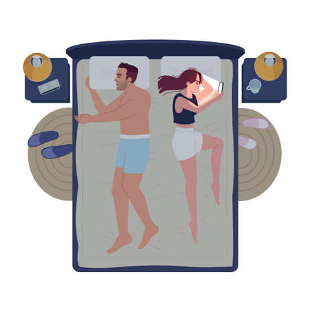 Married couple in bed at night semi flat RGB color vector illustration. Boyfriend and girlfriend in bedroom. Husband sleeping and wife chatting, using smartphone isolated cartoon character on white Illusztráció