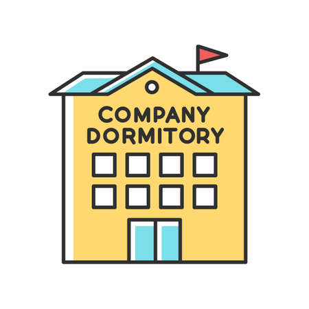 Company dormitory RGB color icon. Housing complex. Living accommodations for employees. Housing facilities. Residential area. Apartment block. Isolated vector illustration