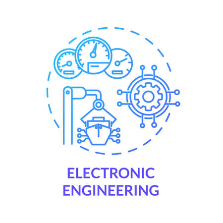 Electronic engineering blue concept icon. Ship devices maintenance. Fix boat in port. Vessel machinery operation idea thin line illustration. Vector isolated outline RGB color drawing Ilustração