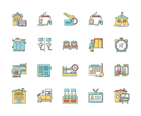 Dormitory RGB color icons set. Communal space. Living accommodations. Hostel, hotel. Shared room. Common bedroom. University campus. Isolated vector illustrations
