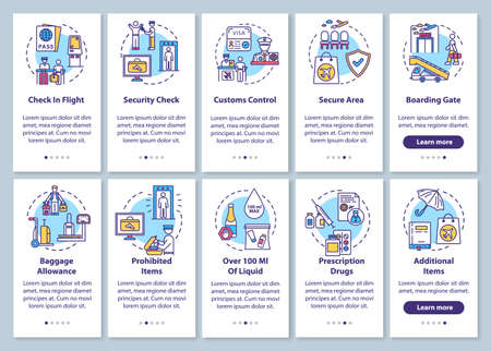 Airport terminal onboarding mobile app page screen with concepts set. Commercial airline services walkthrough five steps graphic instructions. UI vector template with RGB color illustrations Ilustración de vector