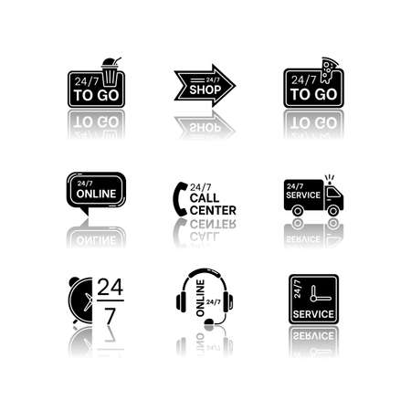 24 7 hour service drop shadow black glyph icons set. Online 24 hrs customer support. Everyday available delivery. Transportation truck sign. Isolated vector illustrations on white space