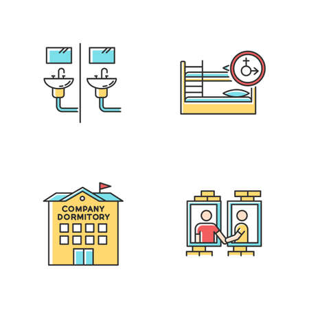 Company dormitory RGB color icons set. Communal bathroom. Mixed bedroom. Neighborhood. Shared room. Common space. Corporate living accommodation. Isolated vector illustrations Ilustração