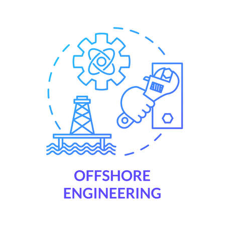 Offshore engineering blue concept icon. Oil rig maintenance work. Marine structure build. Water construction repair idea thin line illustration. Vector isolated outline RGB color drawing