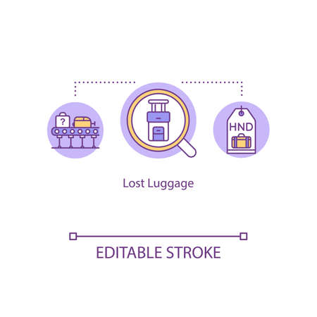 Lost baggage concept icon. Passenger personal belongings recovery idea thin line illustration. Airport conveyor belt, and baggage tag vector isolated outline RGB color drawing. Editable stroke Vettoriali