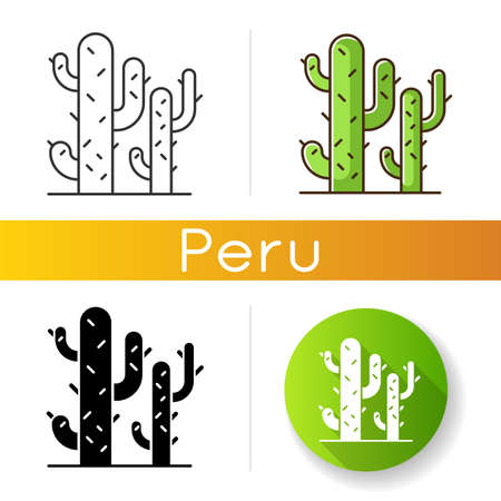 Cactuses icons set. Desert plants. Saguaro cactus. Prickly tree like succulent. American arid area thorny wildflower. Linear, black and RGB color styles. Isolated vector illustrations 일러스트