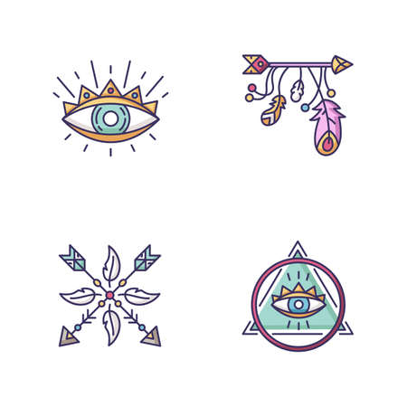 Magical symbols RGB color icons set. Eye of providence, mysterious talisman. Arrow and feathers charms in boho style. Consipiracy and witchcraft signs. Isolated vector illustrations