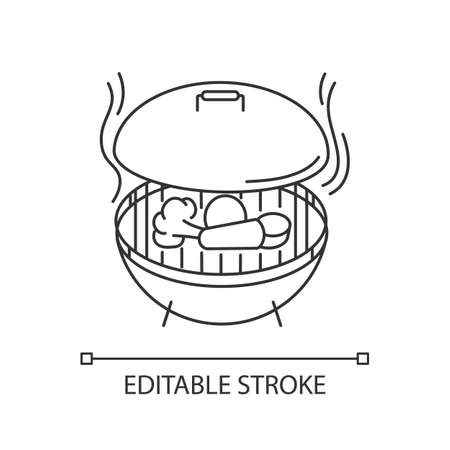 Grilling pixel perfect linear icon. Thin line customizable illustration. Barbecue preparation process. Culinary method, picnic contour symbol. Vector isolated outline drawing. Editable stroke