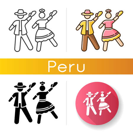 Marinera icons set. Peruvian traditional romantic couple dance. Man and woman dancers. Ethnic party. Hispanic culture. Linear, black and RGB color styles. Isolated vector illustrations