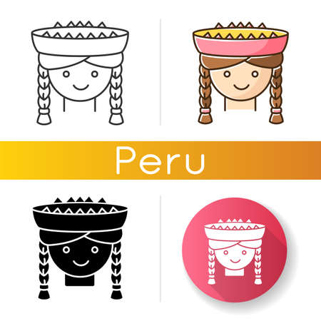 Peruvian girl icons set. Cute smiling woman head with braids. Latin american national headdress. Local Peru child. Linear, black and RGB color styles. Isolated vector illustrations