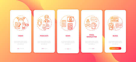 Cross platform content creation onboarding mobile app page screen with concepts. Blogging and podcasting walkthrough 5 steps graphic instructions. UI vector template with RGB color illustrations