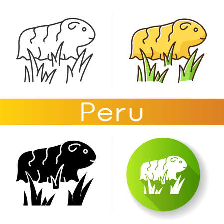 Guinea pig icons set. Shaggy rodent in grass. Pocket pet. Domestic cavy in fresh air. Cute little cavia. Local Peruvian wildlife. Linear, black and RGB color styles. Isolated vector illustrations