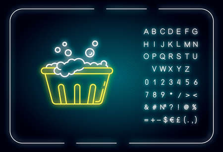 Handwash neon light icon. Soaking laundry, wash basin with foam, hand washing. Outer glowing effect. Sign with alphabet, numbers and symbols. Vector isolated RGB color illustration