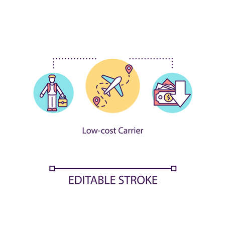 Low cost carrier concept icon. Budget tourism, economy class travel idea thin line illustration. Affordable airline company service. Vector isolated outline RGB color drawing. Editable stroke