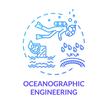 Oceanographic engineering blue concept icon. Exploring underwater ecosystem. Biologist in ocean. Oceanography idea thin line illustration. Vector isolated outline RGB color drawing Vettoriali