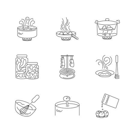 Food preparation pixel perfect linear icons set. Different cooking techniques, meal making process customizable thin line contour symbols. Isolated vector outline illustrations. Editable stroke