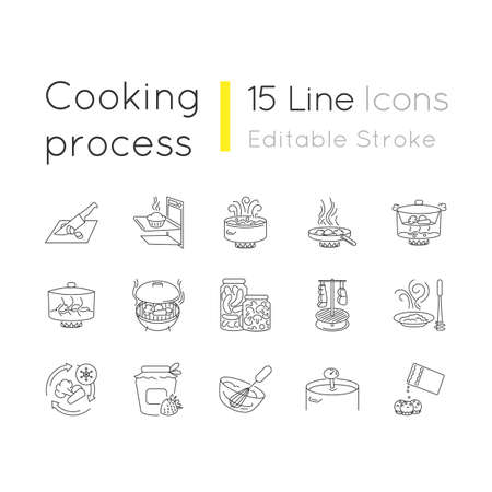 Cooking process pixel perfect linear icons set. Different food preparation methods, culinary techniques customizable thin line contour symbols. Isolated vector outline illustrations. Editable stroke Ilustração Vetorial