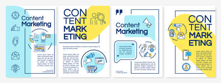 Content marketing tools brochure template. Inbound vs outbound model. Flyer, booklet, leaflet print, cover design with linear icons. Vector layouts for magazines, annual reports, advertising posters