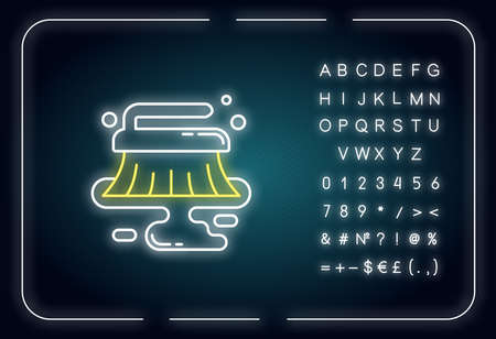 Wet cleaning neon light icon. Professional cleanup service. Dirty floor cleaning. Outer glowing effect. Sign with alphabet, numbers and symbols. Vector isolated RGB color illustration Stock Illustratie